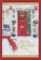 Red Door and Snowman (1 card/1 envelope) Image Arts Christmas Card