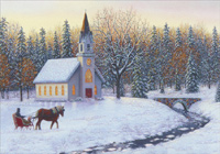 Sleigh, Church and Stream (1 card/1 envelope) Image Arts Christmas Card