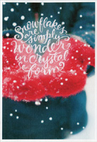 Snowflakes and Red Mittens Boutique (16 cards/16 envelopes) - Boxed Christmas Cards - FRONT: Snowflakes are simply wonder in crystal form  INSIDE: May this beautiful season open your heart to the wonders of each moment.