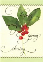 Hoping Caring Giving Sharing Holly (40 cards/40 envelopes) Image Arts Boxed Christmas Cards