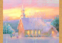 Church with Pastel Sky (40 cards/40 envelopes) Image Arts Boxed Christmas Cards