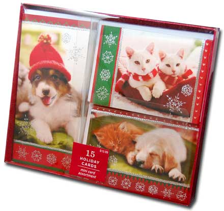 Dog & Cat Mini Assortment (15 cards/15 envelopes) Image Arts Boxed Christmas Cards - FRONT: Various  INSIDE: Various