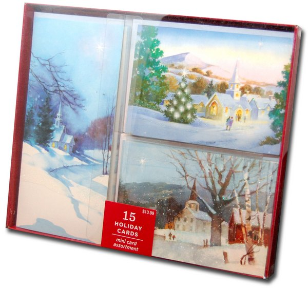 Snowy Church Assortment (15 cards/15 envelopes) Image Arts Boxed Christmas Cards - FRONT: Various  INSIDE: Various