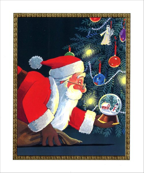 Santa with Snow Globe Ornament (1 card/1 envelope) Christmas Card - FRONT: No Text  INSIDE: Wishing you every wonderful thing that the merriest kind of Christmas can bring!