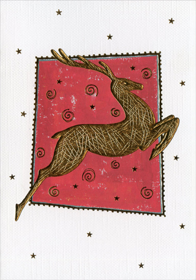 Gold Embossed Reindeer (1 card/1 envelope) Christmas Card - FRONT: No Text  INSIDE: Wishing you special Christmas joy!