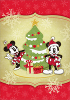 Mickey Mouse, Minnie Mouse and Tree (1 card/1 envelope) - Christmas Cards  INSIDE: May your Christmas be filled with merry moments and wonderful surprises!