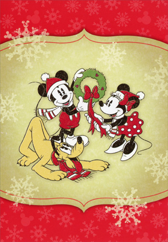 mickey mouse minnie pluto and wreath disney christmas card