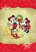 Mickey Mouse, Minnie, Pluto and Wreath (1 card/1 envelope) - Christmas Cards  INSIDE: May the joy of this holiday season fill your home with happiness.
