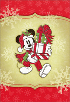 Mickey Mouse Carrying Presents (1 card/1 envelope) - Christmas Cards  INSIDE: May your holidays be wrapped in happiness.
