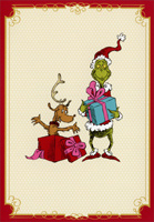 Grinch, Max and Presents (1 card/1 envelope) Image Arts Dr. Seuss Christmas Cards