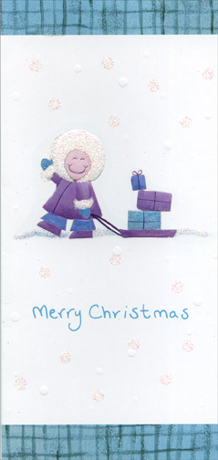 Child with Sled & Presents (1 card/1 envelope) Christmas Card - FRONT: Merry Christmas  INSIDE: May your Christmas be merry and bright!