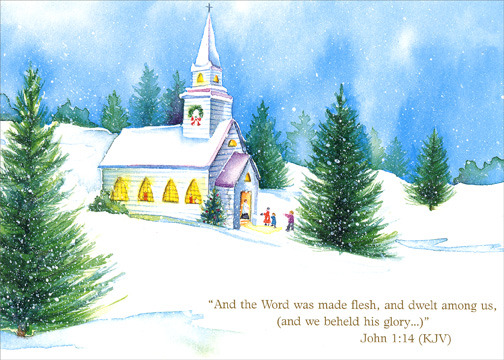 Winter Church & Pine Trees (1 card/1 envelope) Religious Christmas Card - FRONT: And the Word was made flesh, and dwelt among us, (and we beheld his glory..)'  John 1:14 (KJV)  INSIDE: To wish you a blessed Christmas and a wonderful new year.