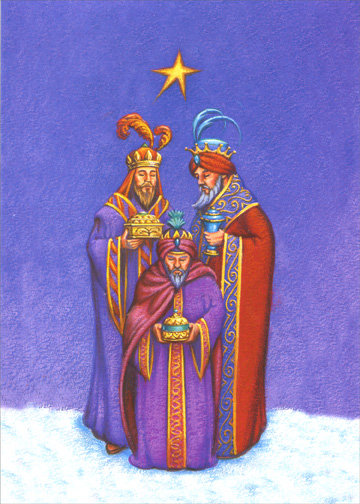 Embossed 3 Kings (1 card/1 envelope) Christmas Card - FRONT: No Text  INSIDE: May the spirit of Christmas bring you joys that last throughout the new year.  'Now when Jesus was born in Bethlehem.. behold, there came wise men from the east to Jerusalem.'  MATTHEW 2:1