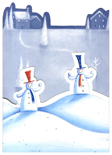 Ice Skating Snowmen Die-Cut (1 card/1 envelope) Christmas Card - FRONT: No Text  INSIDE: Have a very merry Christmastime!