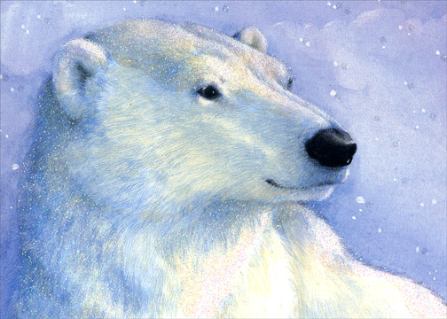 Polar Bear Mini Luxe (1 card/1 envelope) Christmas Card - FRONT: No Text  INSIDE: May the nature's beauty surround you at this beautiful season. Season's Greetings
