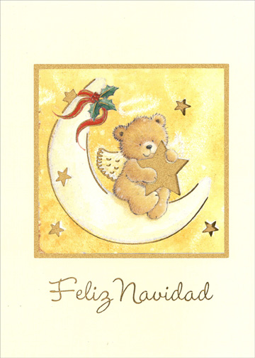 Spanish Teddy Bear Angel (1 card/1 envelope) Spanish Language Christmas Card - FRONT: Feliz Navidad  INSIDE: Que Dios les bendiga, ame y proteja en esta Navidad y siempre.  (Translation of Spanish:  God bless you, love you and keep you at Christmastime and always.)