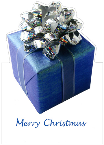 Present/Silver Bow (1 card/1 envelope) - Christmas Card - FRONT: Merry Christmas  INSIDE: May your Christmas be wrapped in special happiness! Merry Christmas