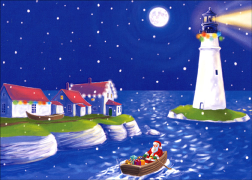 Santa, Rowboat, Lighthouse (1 card/1 envelope) - Christmas Card - FRONT: No Text  INSIDE: Wishing you a very Merry Christmas.