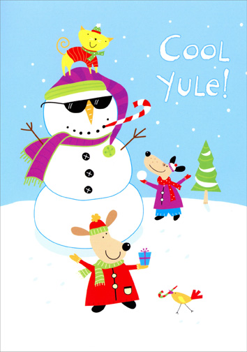 Cool Yule Snowman & Friends (18 cards with envelopes) Boxed Christmas Cards - FRONT: Cool Yule!  INSIDE: Merry Christmas!