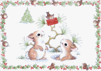 Baby Bird & Bunnies (1 card/1 envelope) Christmas Thank You Card - FRONT: No Text  INSIDE: Blank Inside