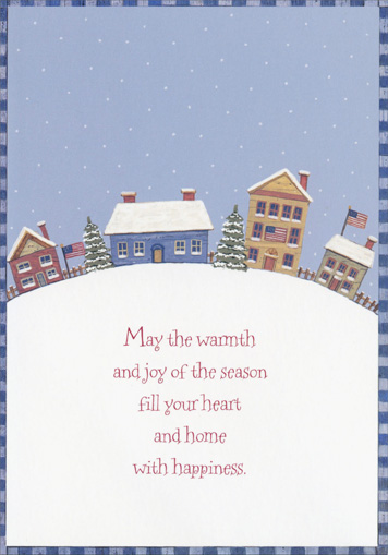 Patriotic Town on Hill (18 cards/18 envelopes) Image Arts Boxed Holiday Cards - FRONT: May the warmth and joy of the season fill your heart and home with happiness.  INSIDE: Warmest holiday wishes from our home to yours.