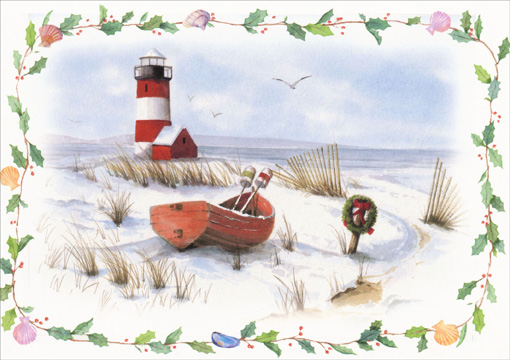 Lighthouse & Rowboat Coast Scene (1 card/1 envelope) - Holiday Card - FRONT: no text  INSIDE: Greetings of the season.