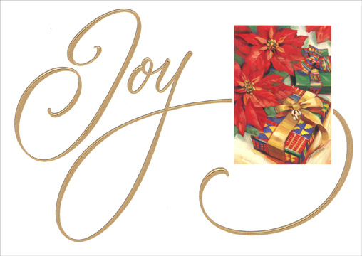 African American Joy/Presents (1 card/1 envelope) Image Arts African American Christmas Card - FRONT: Joy  INSIDE: Wishing you a Christmas filled with joyful celebration!