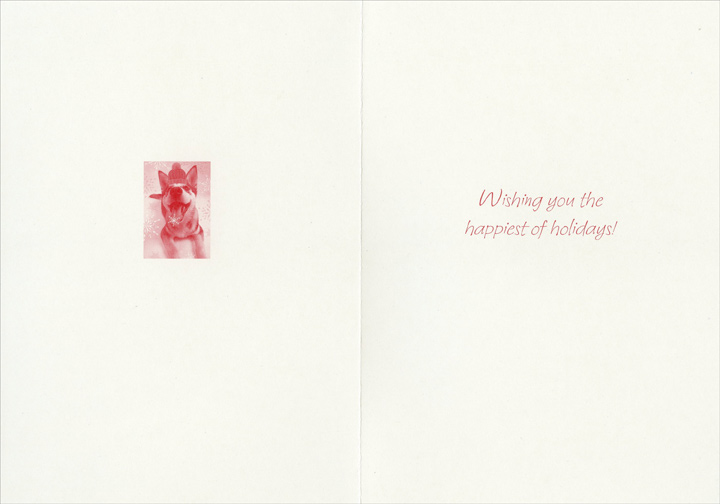 Husky with Snowflake on Tongue (1 card/1 envelope) - Holiday Card - FRONT: Let it Snow!  INSIDE: Wishing you the happiest of holidays!