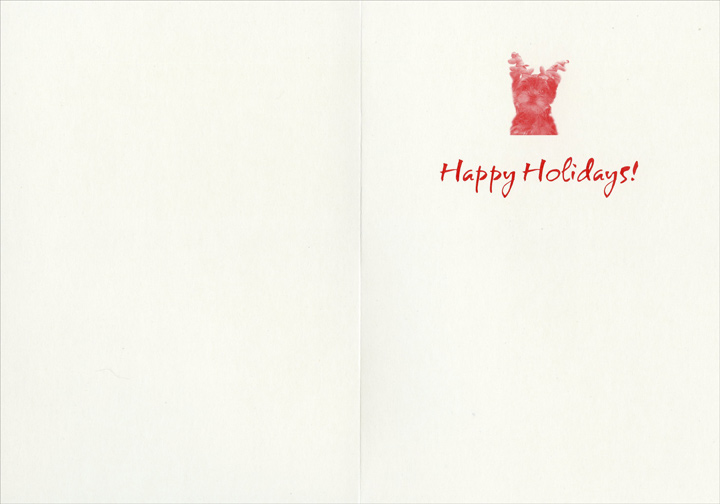 Five Dogs with Antlers (1 card/1 envelope) Boxer, Dachshund, Pug, German Shorthaired Pointer, & Norfolk Terrier Holiday Card  INSIDE: Happy Holidays!