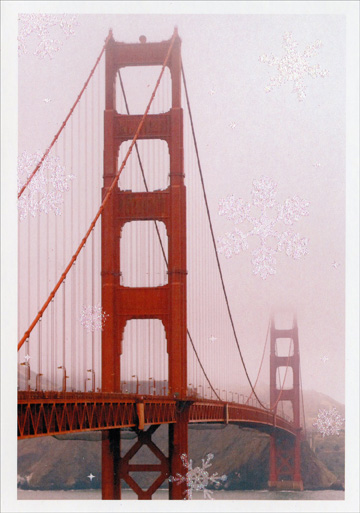 Golden Gate Bridge (1 card/1 envelope) Image Arts Christmas Card  INSIDE: Wishing you many wonderful holiday moments.