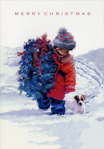 Boy, Dog & Wreath (1 card/1 envelope) Image Arts Christmas Card - FRONT: Merry Christmas  INSIDE: Wishing you all the magic and wonder of Christmas.