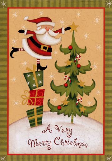 Santa with Star (18 cards & 18 envelopes) Image Arts Boxed Christmas Cards - FRONT: A Very Merry Christmas  INSIDE: Wishing you every little joy of the season.