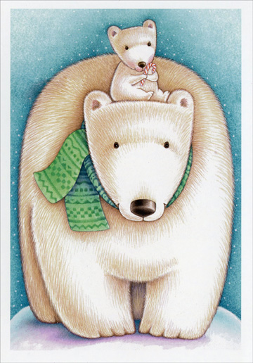 Polar Bear with Cub (1 card/1 envelope) Image Arts Christmas Card  INSIDE: An extra-special wish for an extra-special Christmas!