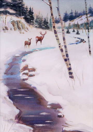 Deer near Stream (1 card/1 envelope) - Christmas Card  INSIDE: Wishing you all the quiet beauty of this peaceful season.