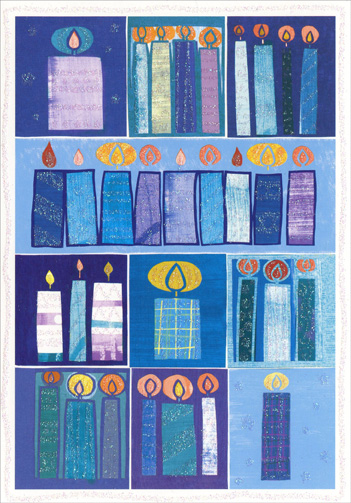 Candles & Squares (1 card/1 envelope) - Hanukkah Card  INSIDE: For eight festive days and eight candlelit nights, may you feel the special joy that is Hanukkah.