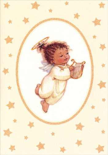 Angel with Harp (18 cards/18 envelopes) - Boxed Christmas Cards  INSIDE: The angels came to tell us of our dear Savior's birth. That He would bring great joy to all and love and peace on earth. - �The LORD has done great things for us, and we are filled with joy.� PSALM 126:3 (NIV)