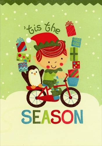 Elf and Penguin on Bicycle (1 card/1 envelope) Image Arts Christmas Card - FRONT: 'tis the SEASON  INSIDE: With warmest wishes at this jolly time of year.