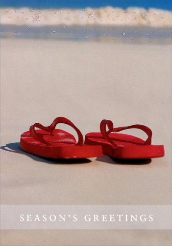 Sandals on Beach (16 cards/16 envelopes) Image Arts Warm Weather Boxed Christmas Cards - FRONT: Seasons's Greetings  INSIDE: Smile, relax, enjoy.  It's Christmas.