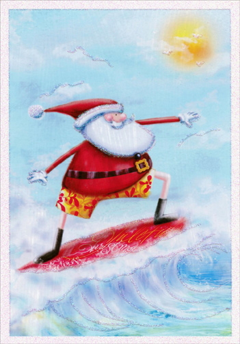 Santa Surfing (16 cards/16 envelopes) Image Arts Warm Weather Boxed Christmas Cards  INSIDE: Hope you have the happiest holidays under the sun!