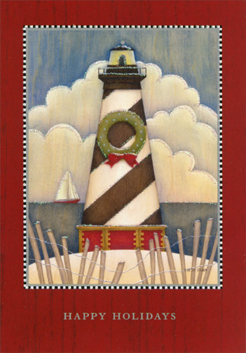 Light House (16 cards/16 envelopes) - Boxed Christmas Cards - FRONT: Happy Holidays  INSIDE: May your hearts be content, may your spirits be light, And all of your holiday memories bright!