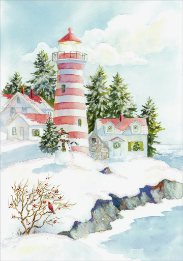 Striped Light House (16 cards/16 envelopes) Image Arts Coastal Boxed Christmas Cards  INSIDE: With special thoughts and wishes that this Christmas will be especially nice for you.