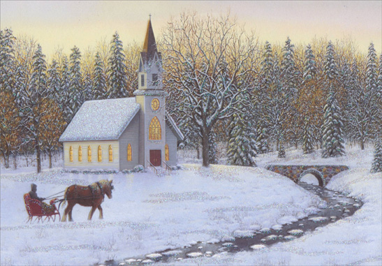 Carriage and Church (1 card/1 envelope) - Christmas Card  INSIDE: May life's simple blessings be yours this holiday season.