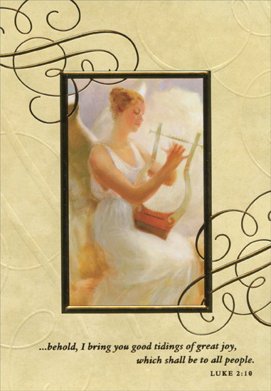 Angel with Harp (1 card/1 envelope) Image Arts Religious Christmas Card - FRONT: �behold, I bring you good tidings of great joy, which shall be to all people.  LUKE 2:10  INSIDE: Wishing you every blessing as we celebrate Christmas.