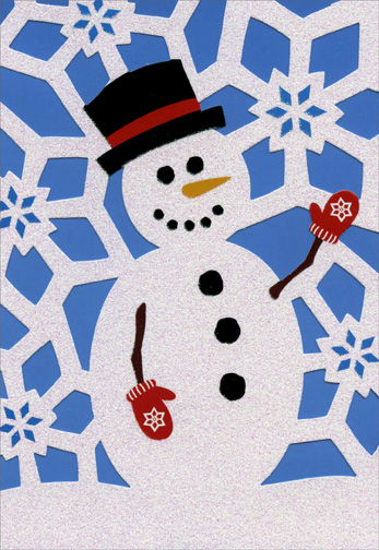 Die Cut Snowman (1 card/1 envelope) - Christmas Card  INSIDE: May all the magic of the season be yours.