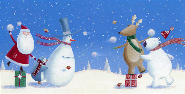Santa Snowball Toss (1 card/1 envelope) Image Arts Christmas Card  INSIDE: Hope there's no end to your holiday fun!