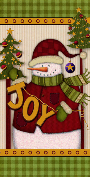 Folk Art Snowman (1 card/1 envelope) - Christmas Card - FRONT: JOY  INSIDE: Hope your holidays are trimmed with happiness!