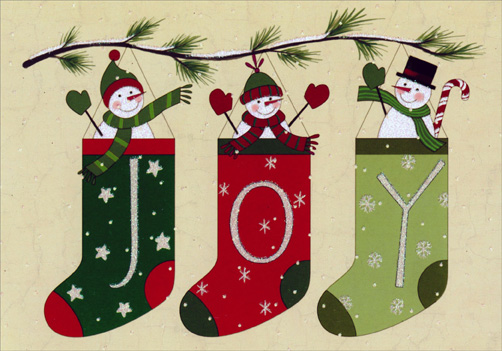 Folk Art Snowman Stockings (1 card/1 envelope) Image Arts Christmas Card - FRONT: JOY  INSIDE: Wishing you the warmth and joy of the season.
