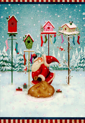Santa, Birdhouses & Stockings (1 card/1 envelope) Image Arts Christmas Card  INSIDE: Hope Christmas fills your home with everything you're hoping for� AND MORE!