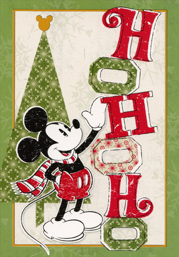Mickey Mouse Ho Ho Ho (12 cards/12 envelopes) - Boxed Christmas Cards - FRONT: Ho Ho Ho  INSIDE: Hope you have your jolliest Christmas ever!