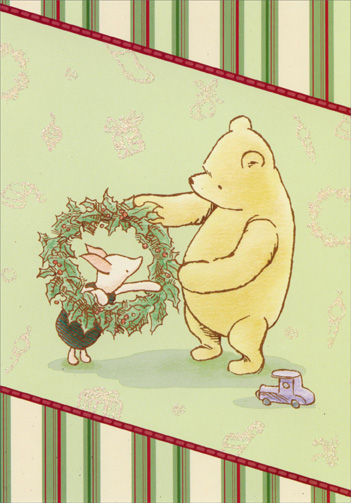 Winnie the Pooh, Piglet, and Wreath (12 cards/12 envelopes) Image Arts Boxed Christmas Cards  INSIDE: Wishing you all the simple pleasures of the season.